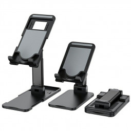 Foldable Upgraded Cell Phone and Tablet Desktop Stand Holder - Black
