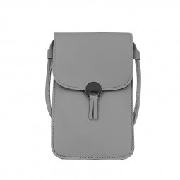 PU Leather Mini Cute Crossbody Pocket Wallet Mobile Phone Bag Change Bag - Dark Grey