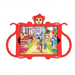 Heavy Duty Rugged PC Silicone Cartoon Case for Apple iPad 5/6/7/8 with Strap - Red