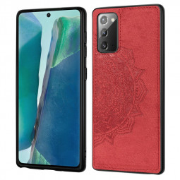 Mandala Embossed Fabric Phone Case TPU + PC Case for Samsung Galaxy Note 20 - Red