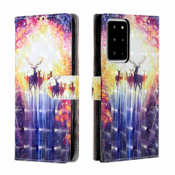 3D Pattern Magnetic PU Leather Wallet Case Cover for Samsung Galaxy Note 20 Ultra - Herd of Deer