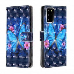 Magnetic PU Leather Wallet Case Cover 3D Pattern for Samsung Galaxy Note 20 - Blue Butterfly