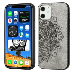 TPU + PC Back Case Mandala Embossed Fabric Phone Case for iPhone 12 Mini - Grey