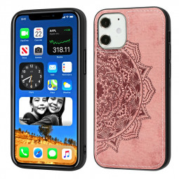 Mandala Embossed Fabric Phone Case TPU + PC Back Case for iPhone 12 - Rose Gold