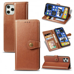 Magnetic Buckle PU Leather Wallet Case Flip Stand Cover for iPhone 12 Pro Max - Brown