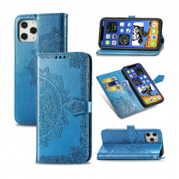 Mandala Embossed Case PU Leather Case Wallet Cover for iPhone 12 Pro Max - Blue