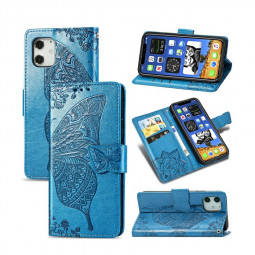 PU Leather Case Wallet Cover Flower Butterfly Embossed Protective Case for iPhone 12 Mini - Blue