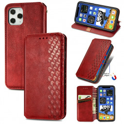 Magnetic PU Leather Wallet Case Cover with Stand Holder for iPhone 12 Pro Max - Red