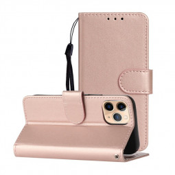 Magnetic PU Leather Wallet Flip Stand Case Cover for iPhone 12 Pro Max - Rose Gold