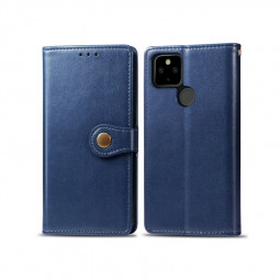 Magnetic PU Leather Wallet Flip Stand Case Cover for Google Pixel 4a 5G - Blue
