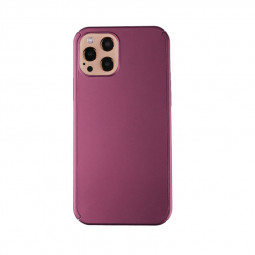 Full Coverage Hard Thin Case Back Cover with Tempered Film for iPhone 12 Pro Max - Rose Gold