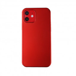 Full Coverage Hard Thin Case Back Cover with Tempered Film for iPhone 12 - Red