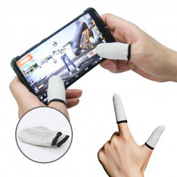 1 Pair Mobile Game Sleeve Smart Touch Screen Finger Gaming Gloves - White