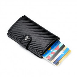 RFID Blocking Genuine Leather Credit Card Holder Money Cash Clip Wallet with Buckle