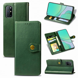 Magnetic Buckle PU Leather Wallet Case Cover for OnePlus 8T - Green