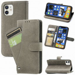 Matte TPU Soft Wallet Case Cover Phone Protective Shell for iPhone 12 - Grey