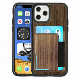 Real Natural Wood Phone Case Protective Back Cover for iPhone 12 Pro Max - Walnut