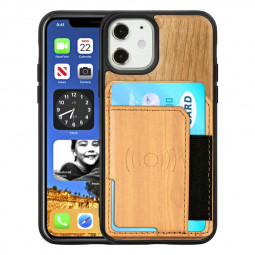 Real Natural Wood Phone Case Protective Back Cover for iPhone 12 Mini - Cherry