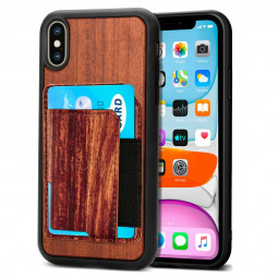 Real Natural Wood Phone Case Protective Back Cover for iPhone X/XS - Palisander