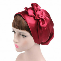 Women Turban Hijab Scarf Bonnet Hair Wrap Satin Bow Headscarf Sleeping Cap - Red