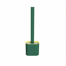 Silicone Toilet Brush with Toilet Brush Holder Creative Cleaning Brush - Green