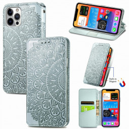 Magnetic PU Leather Wallet Case Flip Card Cover for iPhone 12 Pro Max - Grey