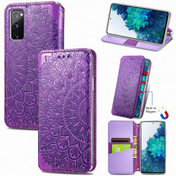 Magnetic PU Leather Wallet Case Flip Card Cover for Samsung Galaxy S20 Fe - Purple