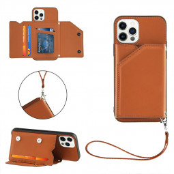 Wallet Card Case Leather Flip Stand Cover Case for iPhone 12 Pro Max - Brown