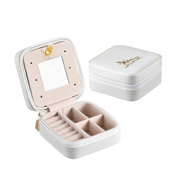 Mini Small Organizer Storage Case for Women Earrings Rings Leather Jewelry Box - White