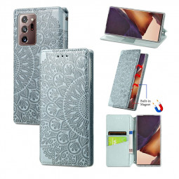 Wallet Card Case Magnetic PU Leather Flip Cover for Samsung Galaxy Note 20 Ultra - Grey