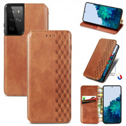 Magnetic PU Leather Wallet Case Cover for Samsung Galaxy S21 Ultra - Brown