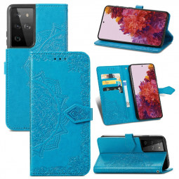 Fashion Four-leaf Clover Pattern PU Leather Wallet Case Cover for Samsung Galaxy S21 Ultra - Blue