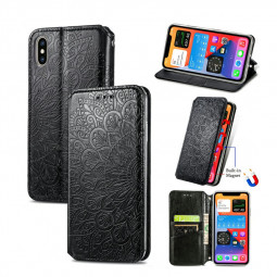 Magnetic PU Leather Wallet Card Case Cover for iPhone XS - Black
