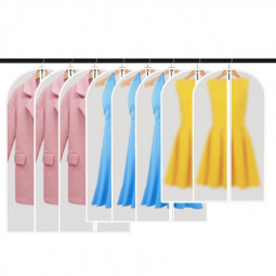 9pcs/Set Hanging Garment Bag Moth-Proof with Study Full Zipper for Closet Storage and Travel