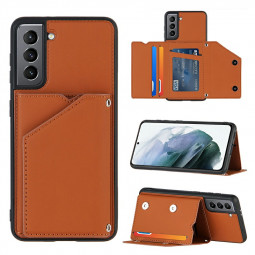 PU Leather Folio Stand Cover Case for Samsung Galaxy S21 5G - Brown