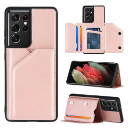 PU Leather Folio Stand Cover Case for Samsung Galaxy S21 Ultra 5G - Rose Gold