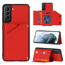 PU Leather Folio Stand Cover Case for Samsung Galaxy S21 Plus 5G - Red