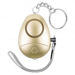 130 db Personal Defense Siren Alarm Keyring Anti-attack Security Alarm Keychain - Gold