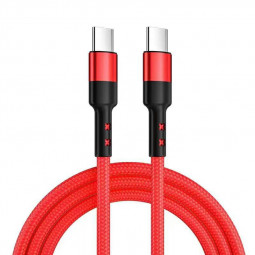 2m Length Nylon Braided USB-C Charging Cable - Red