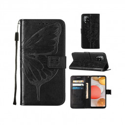 PU Leather Folio Stand Cover Protective Case for Samsung Galaxy A42 5G - Black