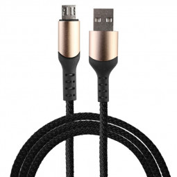 1m Micro USB Nylon Braided Android Charging Cable - Black