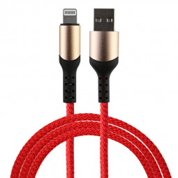 8 pin Flexible Braided Charging Cable for iPhone iPad - Red