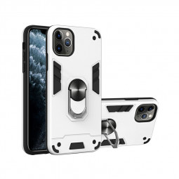 Armor Heavy Duty Dual Layer Ring Shockproof Hard Protective Case for iPhone 11 Pro - Silver.
