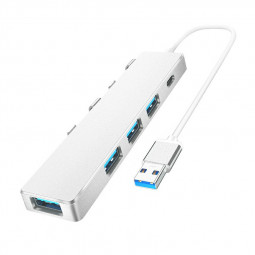4 Port Type C USB Hub USB 3.0 2.0 Expansion Dock - Silver