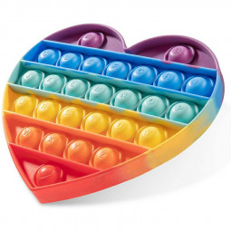 Pop it Fidget a Loud Side and a Quiet Side to Pop Anti Stress Product - Lover Heart Rainbow
