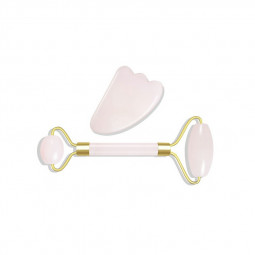 Jade Roller with Gua Sha Scraper for Face Beauty Roller to Improve the Appearance of your Skin - Pink