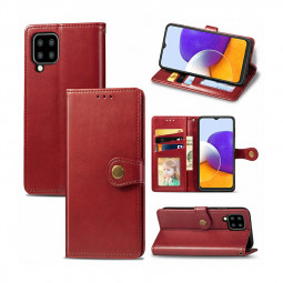 Magnetic PU Leather Wallet Case Protective Cover for Samsung Galaxy A22 - Red