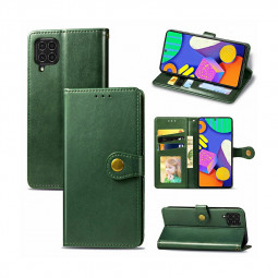 Magnetic PU Leather Wallet Case Protective Cover for Samsung Galaxy F62 - Green
