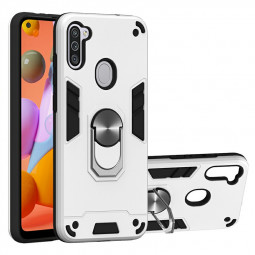 Armor Heavy Duty Dual Layer Ring Shockproof Hard Protective Case for Samsung Galaxy A11/M11 - Silver