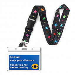Face Mask Exemption PVC Card Holder Mask Exemption card Bag Hidden Disabilities with Star Lanyard - A